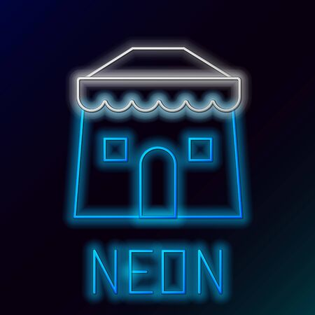 Blue glowing neon line Circus tent icon isolated on black background. Carnival camping tent. Amusement park. Colorful outline concept. Vector Illustration