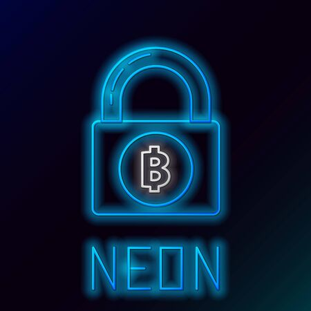 Blue glowing neon line Lock with bitcoin icon on black background. Cryptocurrency mining, blockchain technology, security, protect, digital money. Colorful outline concept. Vector Illustration