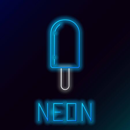Blue glowing neon line Ice cream icon isolated on black background. Sweet symbol. Colorful outline concept. Vector Illustration Stockfoto - 133446580