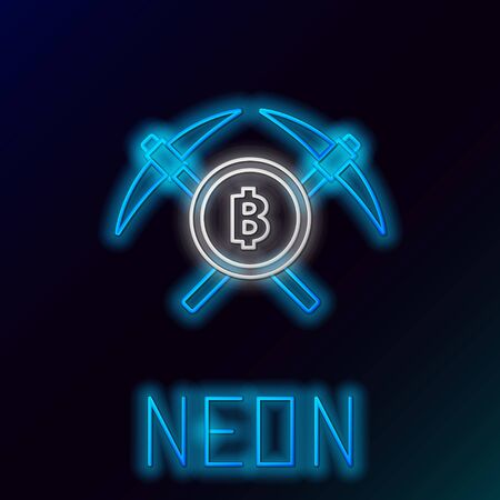 Blue glowing neon line Crossed pickaxe icon on black background. Blockchain technology, cryptocurrency mining, bitcoin, altcoins, digital money market. Colorful outline concept. Vector Illustration