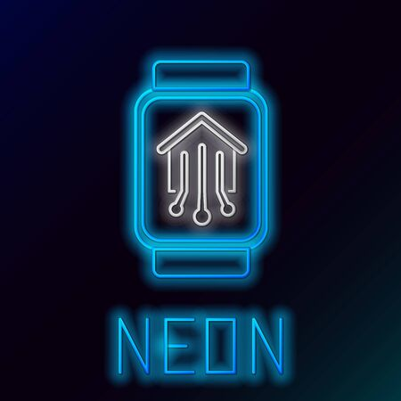 Blue glowing neon line Smart home with smart watch icon isolated on black background. Remote control. Colorful outline concept. Vector Illustration 일러스트