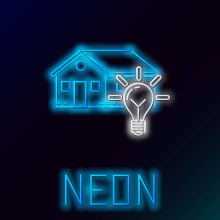 Blue glowing neon line Smart house and light bulb icon isolated on black background. Colorful outline concept. Vector Illustration
