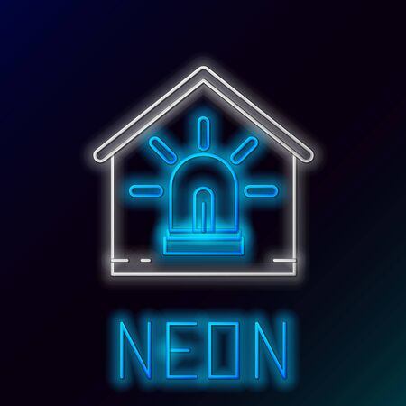 Blue glowing neon line Smart house and alarm icon isolated on black background. Security system of smart home. Colorful outline concept. Vector Illustration Иллюстрация