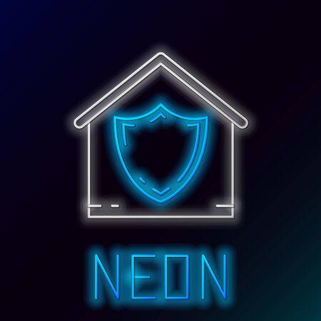 Blue glowing neon line House under protection icon isolated on black background. Protection, safety, security, protect, defense concept. Colorful outline concept. Vector Illustration Иллюстрация