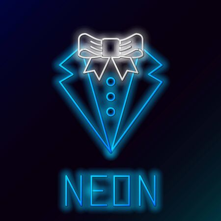 Blue glowing neon line Suit icon isolated on black background. Tuxedo. Wedding suits with necktie. Colorful outline concept. Vector Illustration