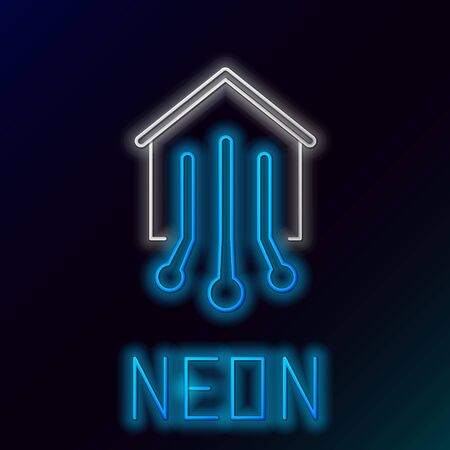 Blue glowing neon line Smart home icon isolated on black background. Remote control. Colorful outline concept. Vector Illustration Иллюстрация