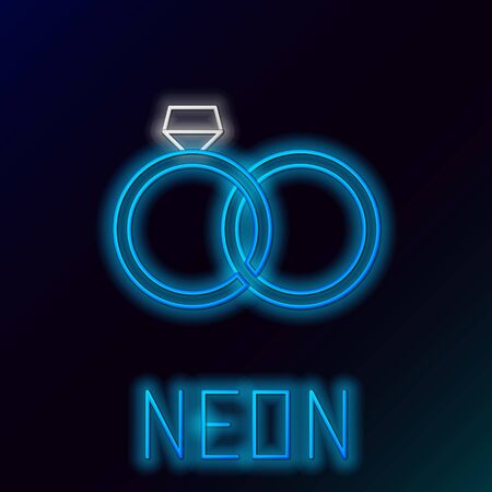 Blue glowing neon line Wedding rings icon isolated on black background. Bride and groom jewelery sign. Marriage icon. Diamond ring icon. Colorful outline concept. Vector Illustration 일러스트