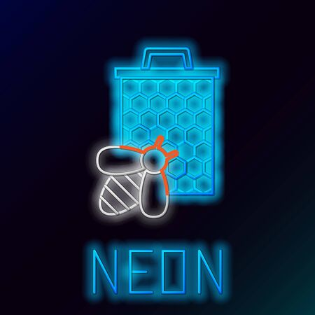 Blue glowing neon line Bee and honeycomb icon on black background. Honey cells. Sweet natural food. Honeybee or apis with wings symbol. Flying insect. Colorful outline concept. Vector Illustration Illustration