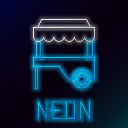 Blue glowing neon line Fast street food cart with awning icon isolated on black background. Urban kiosk. Colorful outline concept. Vector Illustration