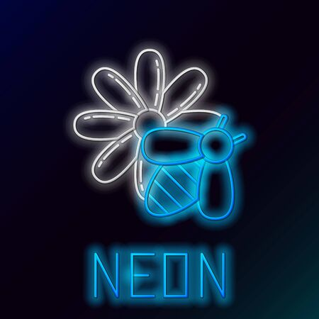 Blue glowing neon line Bee and flower icon isolated on black background. Sweet natural food. Honeybee or apis with wings symbol. Flying insect. Colorful outline concept. Vector Illustration