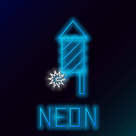 Blue glowing neon line Firework rocket icon isolated on black background. Concept of fun party. Explosive pyrotechnic symbol. Colorful outline concept. Vector Illustration
