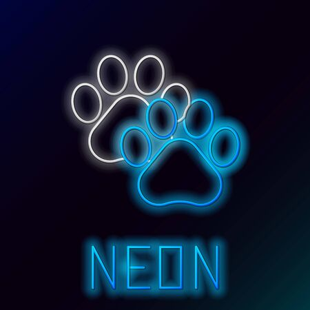 Blue glowing neon line Paw print icon isolated on black background. Dog or cat paw print. Animal track. Colorful outline concept. Vector Illustration Standard-Bild - 133446649
