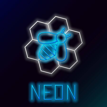 Blue glowing neon line Bee and honeycomb icon on black background. Honey cells. Honeybee or apis with wings symbol. Flying insect. Sweet natural food. Colorful outline concept. Vector Illustration