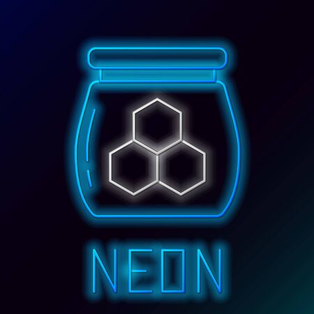 Blue glowing neon line Jar of honey icon isolated on black background. Food bank. Sweet natural food symbol. Colorful outline concept. Vector Illustration