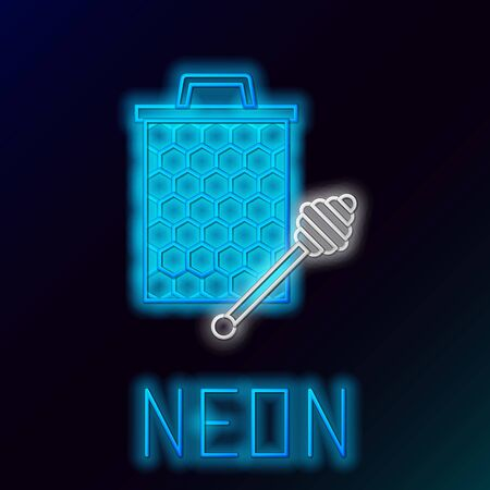 Blue glowing neon line Honeycomb with honey dipper stick icon isolated on black background. Honey ladle. Honey cells symbol. Sweet natural food. Colorful outline concept. Vector Illustration