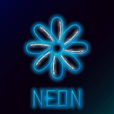 Blue glowing neon line Flower icon isolated on black background. Sweet natural food. Colorful outline concept. Vector Illustration Illustration
