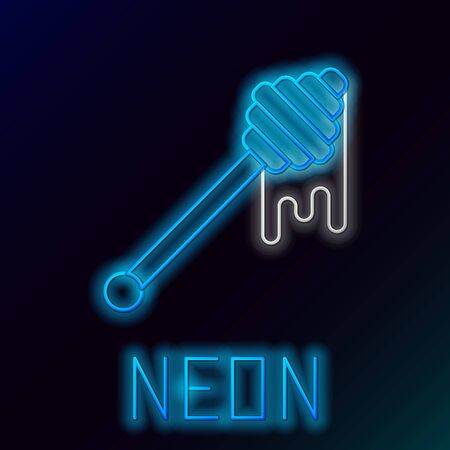 Blue glowing neon line Honey dipper stick with dripping honey icon isolated on black background. Honey ladle. Colorful outline concept. Vector Illustration
