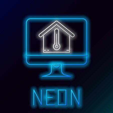 Blue glowing neon line Computer monitor with house temperature icon isolated on black background. Thermometer icon. Colorful outline concept. Vector Illustration Stock Illustratie