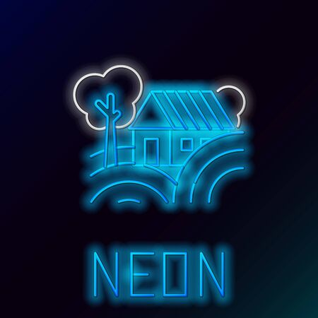 Blue glowing neon line Farm House concept icon isolated on black background. Rustic farm landscape. Colorful outline concept. Vector Illustration