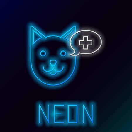 Blue glowing neon line Veterinary clinic symbol icon isolated on black background. Cross with dog veterinary care. Pet First Aid sign. Colorful outline concept. Vector Illustration Иллюстрация