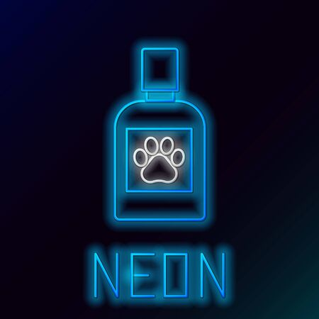 Blue glowing neon line Dog medicine bottle icon isolated on black background. Container with pills. Prescription medicine for animal. Colorful outline concept. Vector Illustration