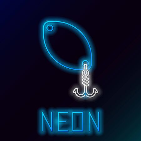 Blue glowing neon line Fishing spoon icon isolated on black background. Fishing baits in shape of fish. Fishing tackle. Colorful outline concept. Vector Illustration