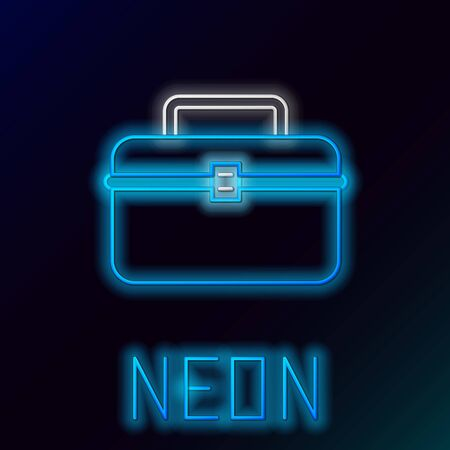 Blue glowing neon line Case or box container for wobbler and gear fishing equipment icon isolated on black background. Fishing tackle. Colorful outline concept. Vector Illustration 일러스트