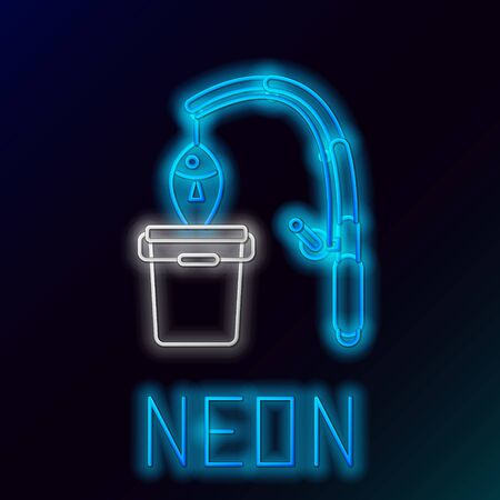 Blue glowing neon line Fishing rod and fish icon isolated on black background. Put fish into a bucket. Fishing equipment and fish farming topics. Colorful outline concept. Vector Illustrationn