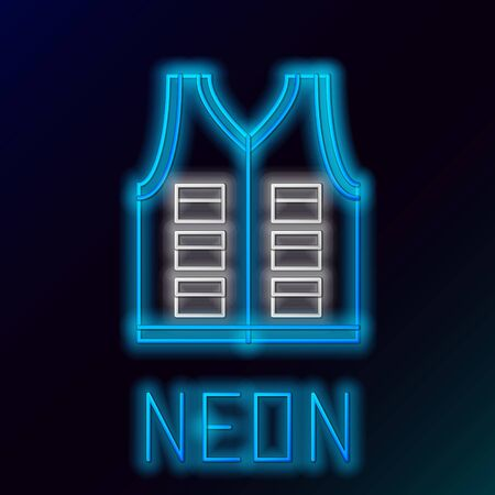 Blue glowing neon line Fishing jacket icon isolated on black background. Fishing vest. Colorful outline concept. Vector Illustration
