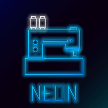 Blue glowing neon line Sewing machine icon isolated on black background. Colorful outline concept. Vector Illustration