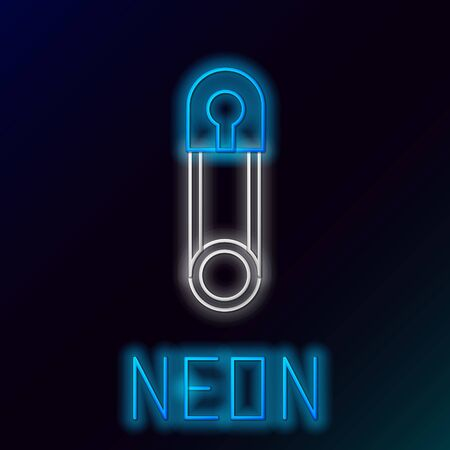 Blue glowing neon line Classic closed steel safety pin icon isolated on black background. Colorful outline concept. Vector Illustration