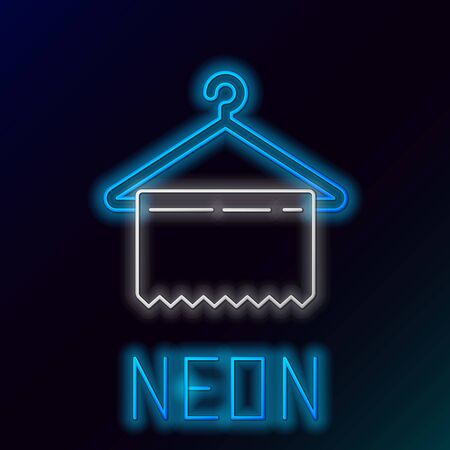 Blue glowing neon line Hanger wardrobe icon isolated on black background. Clean towel sign. Cloakroom icon. Clothes service symbol. Laundry hanger sign. Colorful outline concept. Vector Illustration