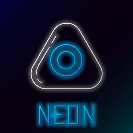 Blue glowing neon line Sewing chalk icon isolated on black background. Colorful outline concept. Vector Illustration