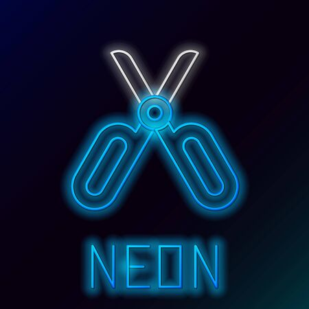Blue glowing neon line Scissors icon isolated on black background. Tailor symbol. Cutting tool sign. Colorful outline concept. Vector Illustration