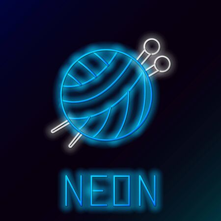 Blue glowing neon line Yarn ball with knitting needles icon isolated on black background. Label for hand made, knitting or tailor shop. Colorful outline concept. Vector Illustration Иллюстрация