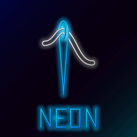 Blue glowing neon line Needle for sewing with thread icon isolated on black background. Tailor symbol. Textile sew up craft sign. Embroidery tool. Colorful outline concept. Vector Illustration Иллюстрация