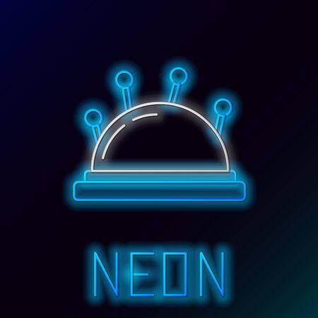 Blue glowing neon line Needle bed and needles icon isolated on black background. Handmade and sewing theme. Colorful outline concept. Vector Illustration