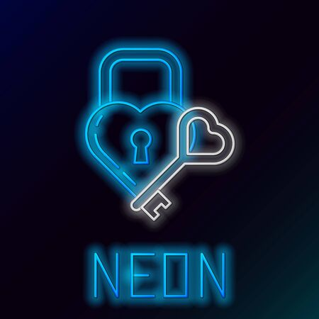 Blue glowing neon line Castle in the shape of a heart and key icon isolated on black background. Locked Heart. Love symbol and keyhole sign. Colorful outline concept. Vector Illustration Standard-Bild - 133453501