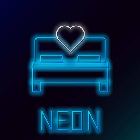 Blue glowing neon line Bedroom icon isolated on black background. Wedding, love, marriage symbol. Bedroom creative icon from honeymoon collection. Colorful outline concept. Vector Illustration Archivio Fotografico - 133447206