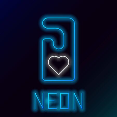 Blue glowing neon line Please do not disturb with heart icon isolated on black background. Hotel Door Hanger Tags. Colorful outline concept. Vector Illustration