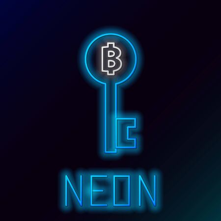 Blue glowing neon line Cryptocurrency Bitcoin key icon on black background. Concept of cyber security or digital key with technology interface. Colorful outline concept. Vector Illustration Illusztráció