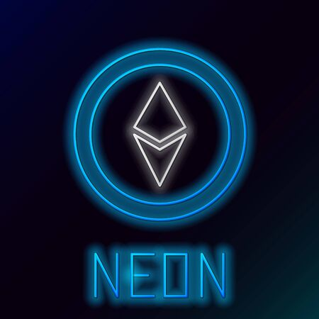 Blue glowing neon line Cryptocurrency coin Ethereum ETH icon on black background. Altcoin symbol. Blockchain based secure crypto currency. Colorful outline concept. Vector Illustration