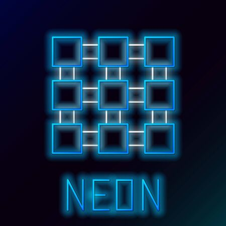 Blue glowing neon line Blockchain technology icon on black background. Cryptocurrency data. Abstract geometric block chain network technology business. Colorful outline concept. Vector Illustration Çizim