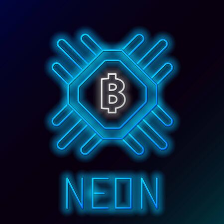 Blue glowing neon line CPU mining farm icon on black background. Bitcoin sign inside processor. Cryptocurrency mining community. Digital money. Colorful outline concept. Vector Illustration