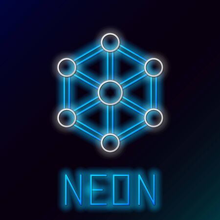 Blue glowing neon line Blockchain technology icon on black background. Cryptocurrency data. Abstract geometric block chain network technology business. Colorful outline concept. Vector Illustration Иллюстрация