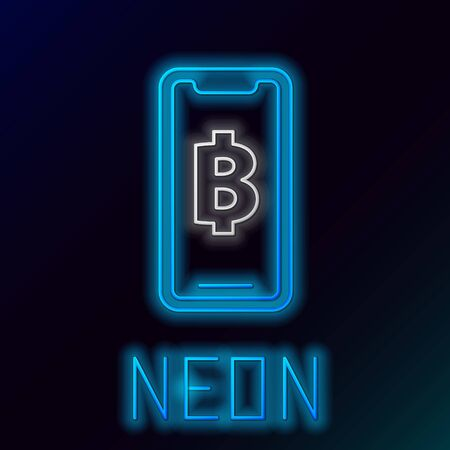 Blue glowing neon line Phone mobile and cryptocurrency coin Bitcoin icon on black background. Physical bit coin. Blockchain based secure crypto currency. Colorful outline concept. Vector Illustration
