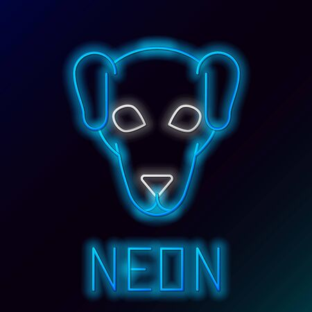 Blue glowing neon line Hunting dog icon isolated on black background. Colorful outline concept. Vector Illustration