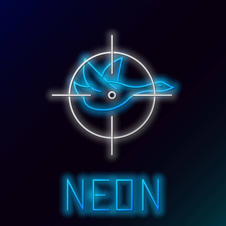 Blue glowing neon line Hunt on duck with cross hairs icon isolated on black background. Hunting club icon with duck and target. Rifle lens aiming a duck. Colorful outline concept. Vector Illustration Çizim