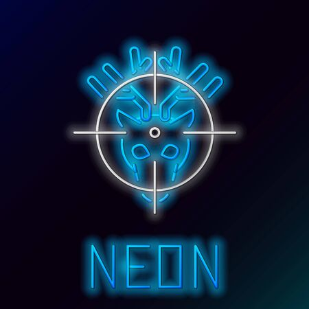 Blue glowing neon line Hunt on deer with cross hairs icon isolated on black background. Hunting club icon with deer and target. Rifle lens aiming a deer. Colorful outline concept. Vector Illustration