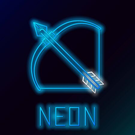 Blue glowing neon line Bow and arrow in quiver icon isolated on black background. Colorful outline concept. Vector Illustration